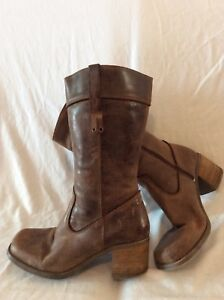 Barratts Brown Mid Calf Leather Boots Size 41