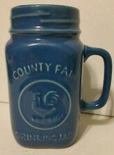 Blue County Fair Drinking Jar Mug 100% Stoneware