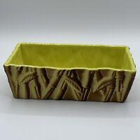 Vintage Miramar Of California Lime Green Matte Glaze Raised Bamboo Planter