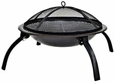 La Hacienda 58106 Camping Firebowl with Grill Folding Legs and Carry Bag - Black