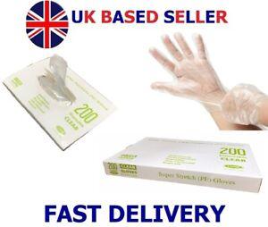 200 Disposable Clear Premium Gloves PE Polyethene Food Preparation Hairdresser