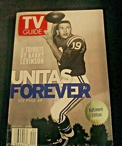 2002 JOHNNY UNITAS A LEGEND PASSES TV GUIDE BALTIMORE COLTS W/ TRIBUTE