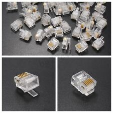 50Pcs RJ12 Ethernet Network LAN Cable Head Crimp End Plug Telephone