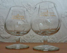 2 Large Rib Glass Courvoisier French Cognac Brandy Snifters Gold Script Napoleon