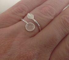 925 Sterling Silver Feather Ring Rose Quartz Pink Adjustable