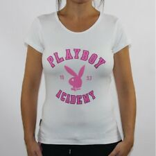 Womens Playboy Tops T-shirts Vests Dresses Ladies UK Size 6 8 10 12 14 16 18 16 White Academy Tee