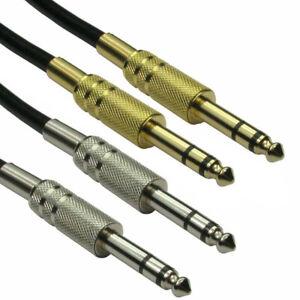 """METAL 6.35mm Balanced/STEREO 1/4"""" TRS BIG Jack Cable Lead 1m/2m/3m/4m/5m/6m/10m"""