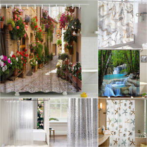NEW 3D Washable Shower Curtain Waterproof Large Bathroom Curtain Home Decors