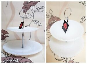 2 Tier Ornate Glass Cake Stand White Finish.New & Boxed.Tea party Afternoon Tea