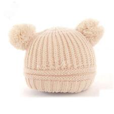 Cute Baby Girls Boys Kids Dual Ball Knit Sweater Cap Winter Warm Hat Beanie Hat