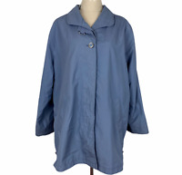 Sanro Womens Blue Button Up Fully Lined Rain Coat Jacket Size 16