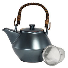 Japanese Tea Pot Teapot Metallic Matte Black w/ Infuser Strainer, Made in Japan