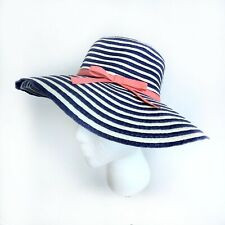 Janie and Jack Girls Straw Sun Hat 2T Blue & White Bucket with Pink Ribbon