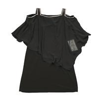 New MSK Medium Black Knit Cocktail Dress w/Chiffon Overlay and Rhinestone Detail