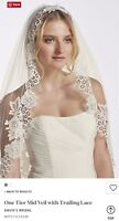 David's Bridal 1-Tier Mid Veil w/Trailing Lace, Ivory, WPD16266M ($199)