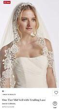0db7a2a392d5 David's Bridal 1-Tier Mid Veil w/Trailing Lace, Ivory, WPD16266M (