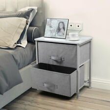 Bedside End Table Organizer Bedroom Nightstand with 2 Fabric Drawers Steel Frame