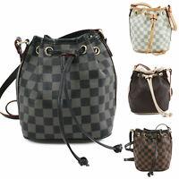 Ladies Checkered Pattern Mini Bucket Bag Women's Messenger Shoulder Handbag