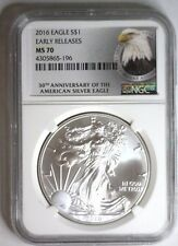 2016 Ngc Ms70 American Silver Eagle Early Releases 30 Ann Label Ms 70