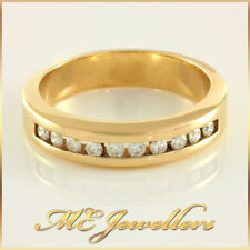 Band 14k, 14kt, 14ct, Sz O, 2.9g Ladies Solid Yellow Gold 10x 0.03ct Diamond