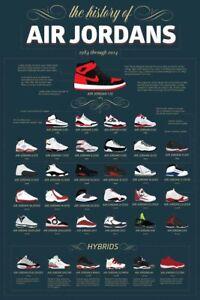 Vintage Nike Air Jordan Timeline Evolution Poster Print RARE (A3)