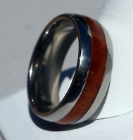 TITANIUM KOA WOOD ENGAGEMENT RING WEDDING BAND HAWAIIAN JEWELRY FREE SHIPPING