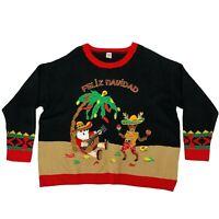 Feliz Navidad Holiday Sweater Women's Size 2XL Sombrero Santa Moccasin Reindeer