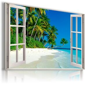 """3D PARADISE Window View Canvas Wall Art Picture Large SIZE 30X20"""" W311"""