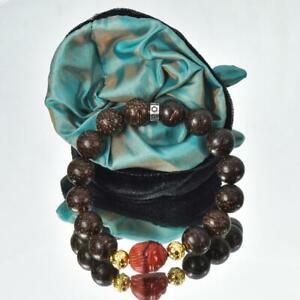 "Bracelet Nibung Palm Wood Red Jasper Scarab Gold Vermeil Sterling Bead 6 ½"""