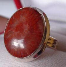 BEAUTIFUL! NATURAL PINK RED CORAL RING 925 STERLING SILVER. SIZE 6.0
