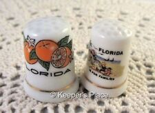 2 Vintage Florida Porcelain Thimbles Oranges Florida Is For Families