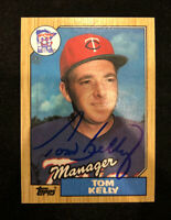 TOM KELLY 1987 TOPPS AUTOGRAPHED SIGNED AUTO BASEBALL CARD 618 TWINS