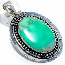 "Chrysophrase Gemstone Handmade Silver Fashion Jewelry Pendant 2.4"" SP8703"