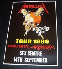 Metallica Concert Poster SFX Centre,Dublin 1986 A3 Size Repro