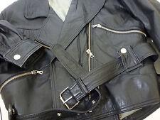 Euro 2 Soft Butter Leather Motorcycle Biker Jacket Coat Lined Belted Black
