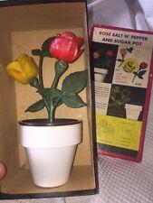 VINTAGE ROSE BOUQUET SALT AND PEPPER SHAKER SUGAR POT SET  w/Box