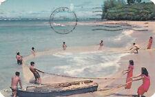 Pan American Airlines Hawaii FIshing Postcard 1956