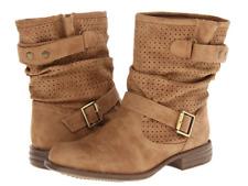 SKECHERS Women's Mad Dash Flat Slip-on Boots Beige Tan Suede Round Toe US Sz 10
