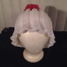 Vintage 1970s Red White Ruffled Floppy Acrylic Knit Beanie Cap Ski Hat Crochet