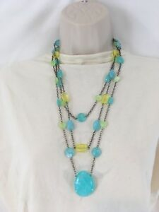 Aqua Turquoise Amber Yellow Hearts Green Glass Necklace Earrings