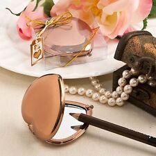 72 Bronze Metallic Heart Compact Mirror Wedding Shower Gift Favors
