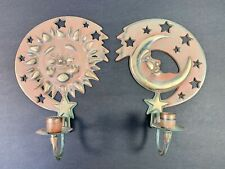 Vintage Partylite Sun Moon Wall Candle Holders Brass Sconce Set 1994