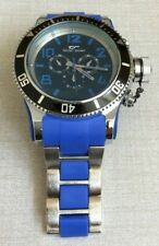 Tecno Sport Oversize Silver Mens Watch Round Blue Dial Silver & Blue Linked Band