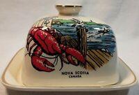 Vintage Sandland English Ware Lidded Butter Dish Nova Scotia Gold Edges