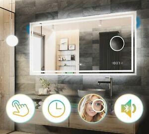 BAD SPIEGEL mit LED Beleuchtung Badezimmerspiegel LED Uhr Touch Lautsprecher L57