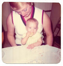 Square Vintage 70s PHOTO Mom Woman Holding Baby Eating Cookie Biscuit