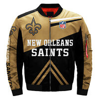 Men's New Orleans Saints Pilot Bomber Jacket Flying Tigers Flight Thicken Coat