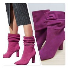 [ WITCHERY ] Womens Magenta Suede Leather Arlie Boots RRP$269.95  | Size EUR 40
