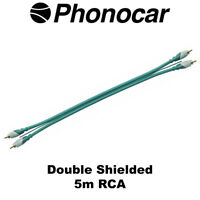 Phonocar 5m RCA Double Shield High Quality Mono Amp Audio Leads Car Amp Wiring