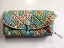 RAYMOND WAITES Tri Fold Floral Makeup Jewelry Quilted Case